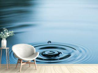 Droplet falling in blue water