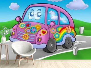 Hippie car on road