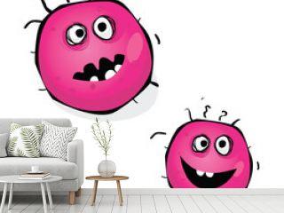 Warning! Pink bacteria of swine flu, virus H1N1. VECTOR.