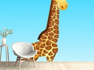 Cute giraffe cartoon in the wild