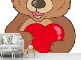 Cute bear holding heart