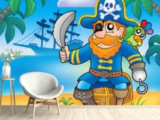 Pirate sitting on chest with ship