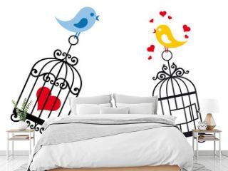birds in love with birdcage