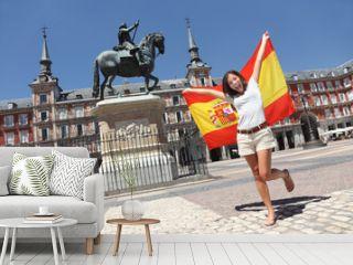 Madrid tourist spain flag