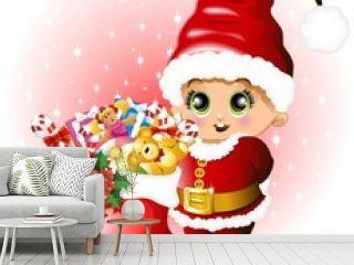 Babbo Natale Bambino con Regali-Baby Santa Claus and Toys-Vector
