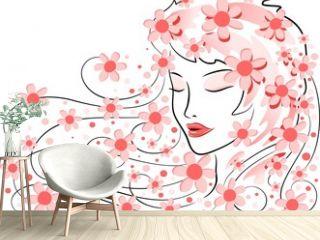 Viso di Donna con Fiori-Girl's Face with Flowers-Vector