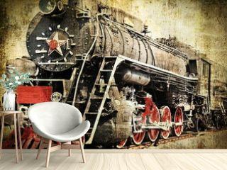 Grunge steam locomotive