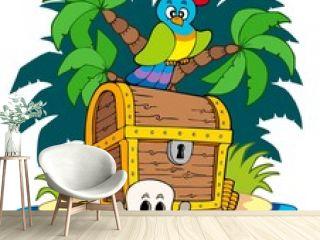 Pirate island with treasure chest
