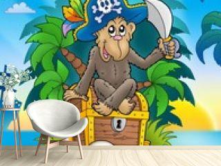 Pirate monkey on treasure island
