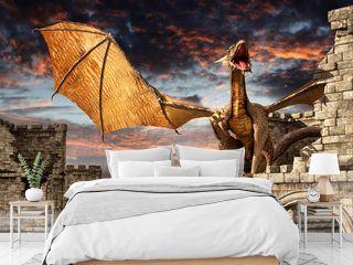 Dragon on castle