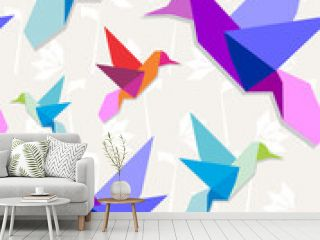 Origami hummingbirds pattern background