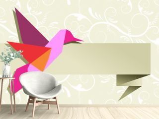 Single Origami hummingbird over floral background