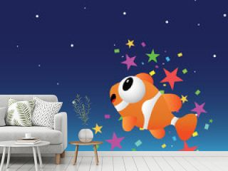 Fish in the night sky with color stars