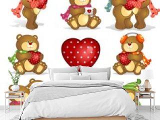 Set- teddy bears heart