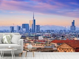 """View of Milan`s  business district from """"Duomo di Milano""""."""