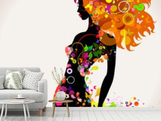 Summer decorative composition with girl