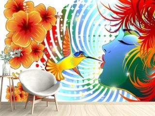 Colibri Bacio Ragazza-Girl Kiss Hummingbird Colors-Vector
