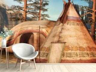 Obóz indiański w lesie