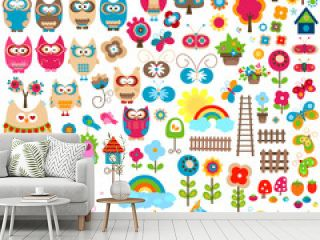 owls and garden themed elements