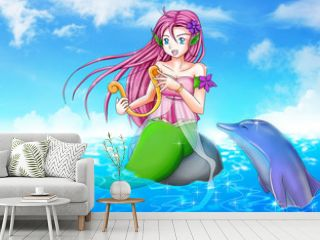 Cartoon illustration of a mermaid with a dolphin