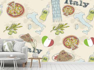 Italy travel grunge seamless pattern