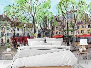 Street in paris - illustration
