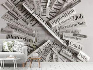 Close Up of News Paper Handlines