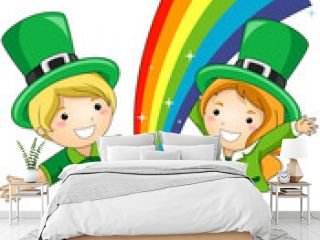 Kids Standing in Front of a Pot of Gold