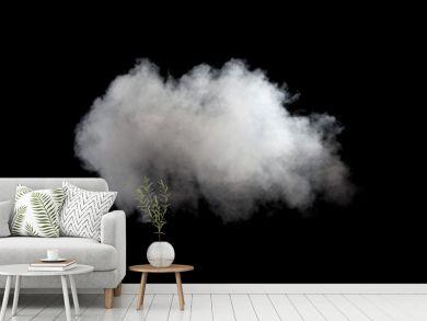 White smoke on black background. Isolated.