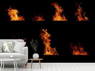 Set of fire flames