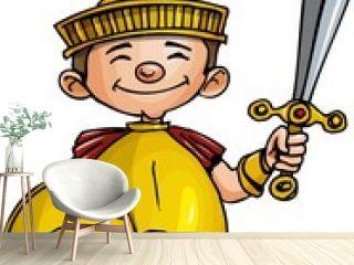 Cartoon Roman legionary with sword and shield