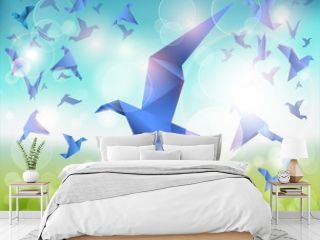 Paper Flight, Origami Blue Birds fly over beautiful landscape.