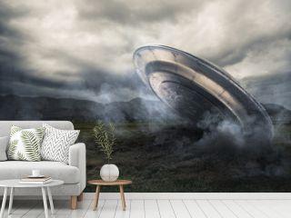 UFO crashing on a crop field