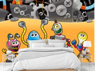 Robots with background. Cartoon and vector illustration.