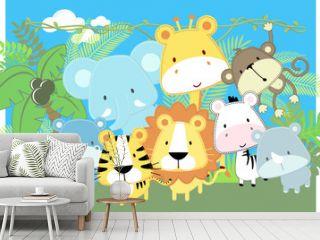 cute vector baby jungle animals
