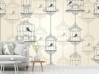 Vintage birds and birdcages. Vector illustration.