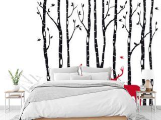 birch trees with christmas deers, vector
