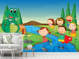 a river, a dinosaur and kids