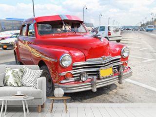 Classic red Plymouth in Havana. Cuba.