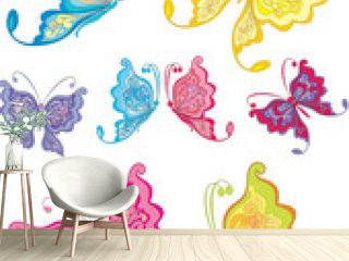 Set of multicolored butterflies isolated on a white background