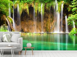 Beautiful waterfalls at Plitvice Lakes National Park