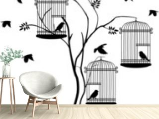 illustration silhouette of birds flying and bird in the cage