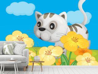 A cat sitting in nature