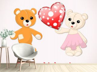 Valentine greeting card with two teddy bears and red dotted hear