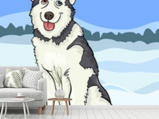husky or malamute dog cartoon illustration