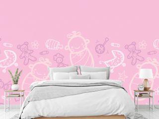 Vector baby girl pink horizontal seamless pattern background