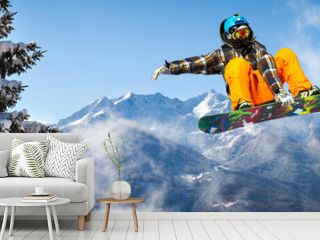 snowboarder in the trees