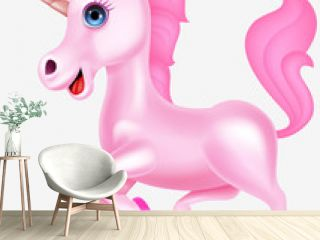 Pink unicorn cartoon