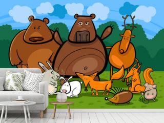 wild forest animals group cartoon illustration
