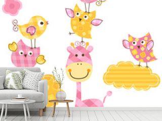 cute birds & giraffe